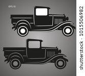 old retro pickup truck vector... | Shutterstock .eps vector #1015506982