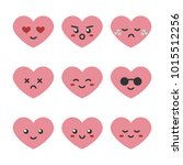cute cartoon pink heart... | Shutterstock .eps vector #1015512256