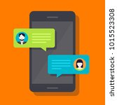 concept of a mobile chat or... | Shutterstock .eps vector #1015523308