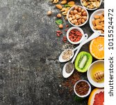ingredients of healthy dietary... | Shutterstock . vector #1015524472