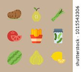 icons fruits and vegetables... | Shutterstock .eps vector #1015543306