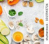 ingredients for healthy... | Shutterstock . vector #1015543726
