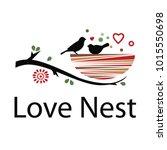 love nest with two little birds.... | Shutterstock .eps vector #1015550698