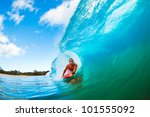 body boarder on large wave... | Shutterstock . vector #101555092