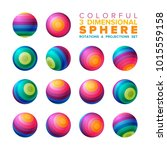 vector 3d vibrant color striped ... | Shutterstock .eps vector #1015559158
