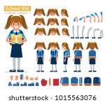 school girl character... | Shutterstock . vector #1015563076