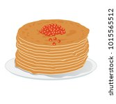 stack of pancakes with red... | Shutterstock .eps vector #1015565512
