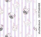 funny girlish seamless pattern... | Shutterstock .eps vector #1015568488