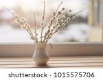 Willow Catkins In Vase On The...