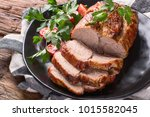 roast pork with herbs and... | Shutterstock . vector #1015582045