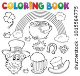 coloring book st patricks day... | Shutterstock .eps vector #1015584775