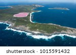 lake hillier on middle island...   Shutterstock . vector #1015591432