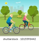 grandfather and grandmother... | Shutterstock .eps vector #1015593442