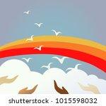 people release birds in sky... | Shutterstock .eps vector #1015598032