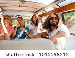 group of friends having fun ... | Shutterstock . vector #1015598212