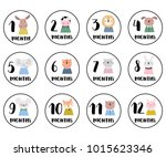 monthly stickers with cute... | Shutterstock .eps vector #1015623346