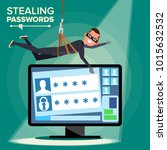 hacker stealing password vector.... | Shutterstock .eps vector #1015632532