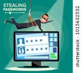 hacker stealing password vector.... | Shutterstock .eps vector #1015632532