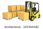 yellow fork lift truck with... | Shutterstock . vector #101564182