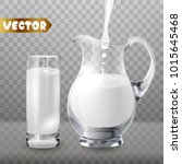 3d glass jug with glass cup.... | Shutterstock .eps vector #1015645468