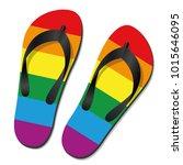 gay pride flip flops   isolated ... | Shutterstock .eps vector #1015646095