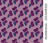 crocus flowers. floral seamless ... | Shutterstock .eps vector #1015648102