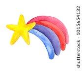 watercolor rainbow star. | Shutterstock . vector #1015654132