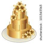 gold birthday  cake. vector... | Shutterstock .eps vector #101565565
