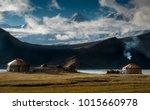 the yurt village in front of...   Shutterstock . vector #1015660978