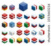 set of isometric boxes with... | Shutterstock .eps vector #1015663216