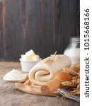 puff pastry dough. homemade... | Shutterstock . vector #1015668166