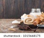 puff pastry dough. homemade... | Shutterstock . vector #1015668175