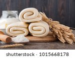 puff pastry dough. homemade... | Shutterstock . vector #1015668178