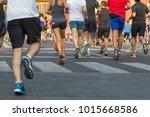international marathon running...   Shutterstock . vector #1015668586