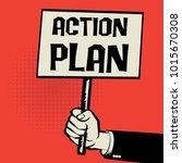 poster in hand  business... | Shutterstock .eps vector #1015670308