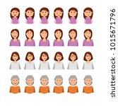 woman emotion face collection   ... | Shutterstock .eps vector #1015671796