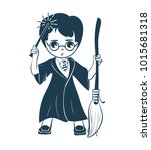 icon of a wizard boy with a... | Shutterstock . vector #1015681318
