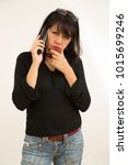 lady talking on the phone with... | Shutterstock . vector #1015699246