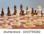 game of chess set out ready to... | Shutterstock . vector #1015750282