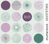 set of circles and leaves ... | Shutterstock .eps vector #1015757392