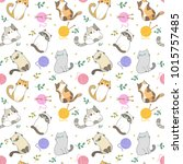 Stock vector vector illustration cats seamless pattern different type of cute cartoon cat on white background 1015757485