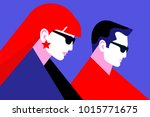 young couple. man and woman... | Shutterstock .eps vector #1015771675
