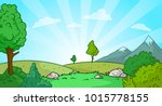 Stock vector cartoon sunrise nature landscape with mountains snow and green grass vector background gift card 1015778155