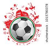 soccer ball with italian symbol ... | Shutterstock .eps vector #1015780378