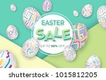easter background with 3d... | Shutterstock .eps vector #1015812205
