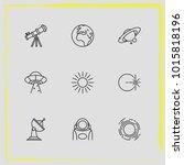 astronomy line icon set solar...   Shutterstock .eps vector #1015818196