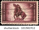 Small photo of USA - CIRCA 1948: A Stamp printed in USA shows the Statue of Captain William O. (Bucky) O'Neill, Rough Riders Issue, circa 1948