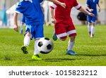 soccer kick  running soccer... | Shutterstock . vector #1015823212