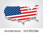 3d vector flag map of the usa ... | Shutterstock .eps vector #101582386