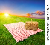 picnic blanket and basket in a... | Shutterstock . vector #101582575